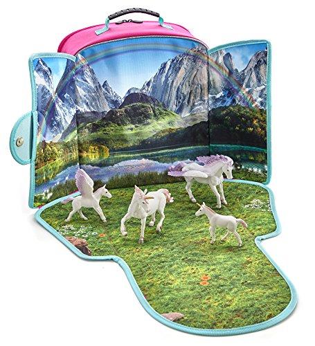 MOJO Fantasy Unicorn Pegasus Backpack Playset with 4 Figures: Unicorn, Unicorn Baby, Pegasus, Pegasus Baby