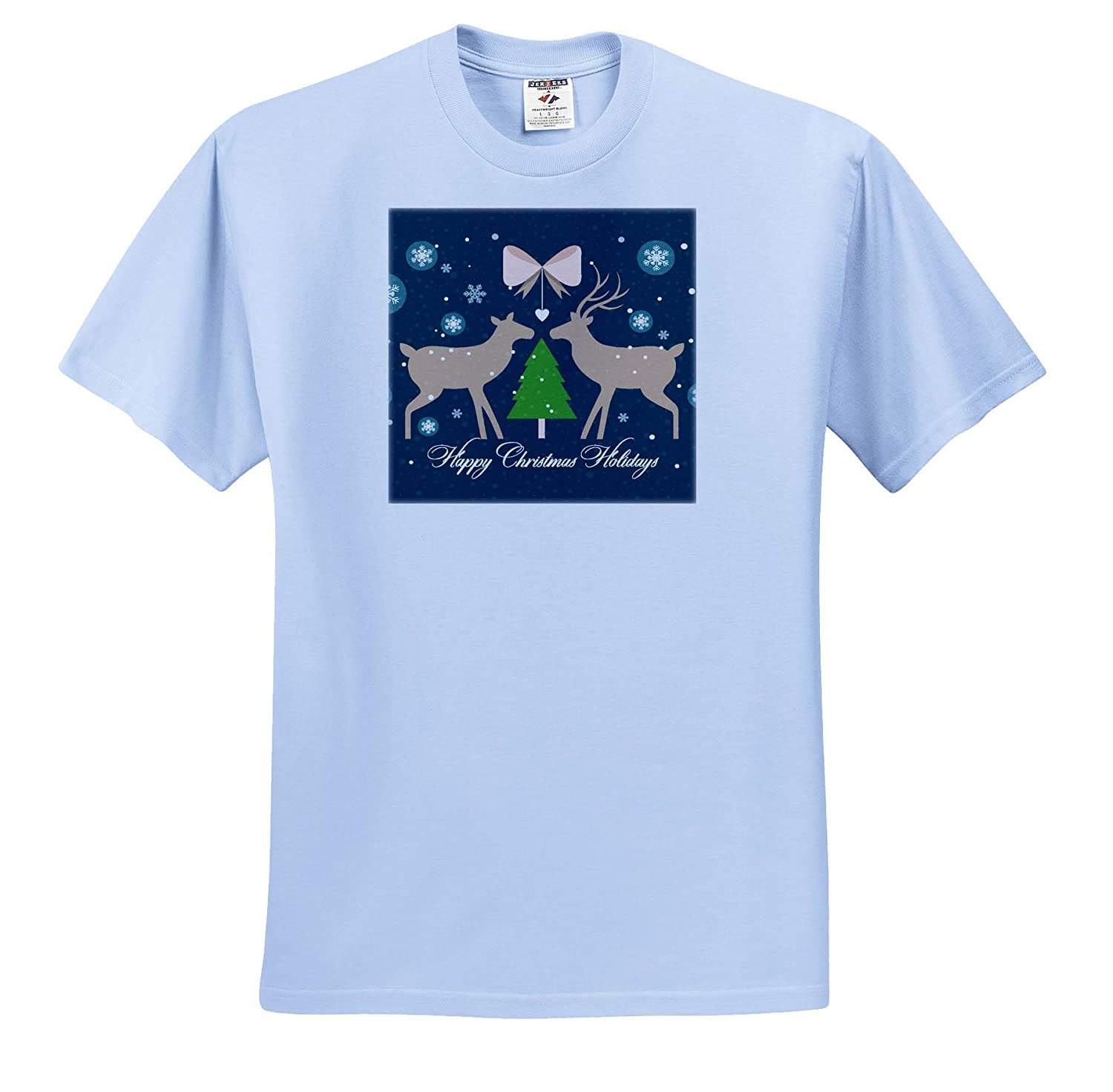 T-Shirts 3dRose Sven Herkenrath Christmas Happy Christmas Holiday with Grey Deers and Snowflake