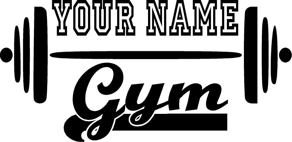 Amazon Gym Name W Barbell Customized Vinyl Wall Decal Fitness Black 11x22 Home Kitchen