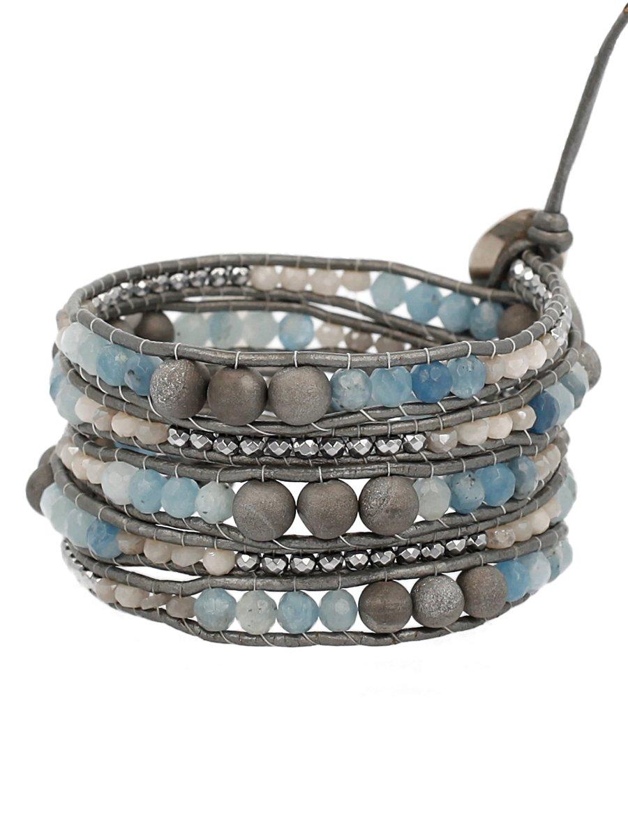 Chan Luu Silver Agate and Aquamarine Grey Mix of Semi Precious Stones Grey Leather Wrap Bracelet