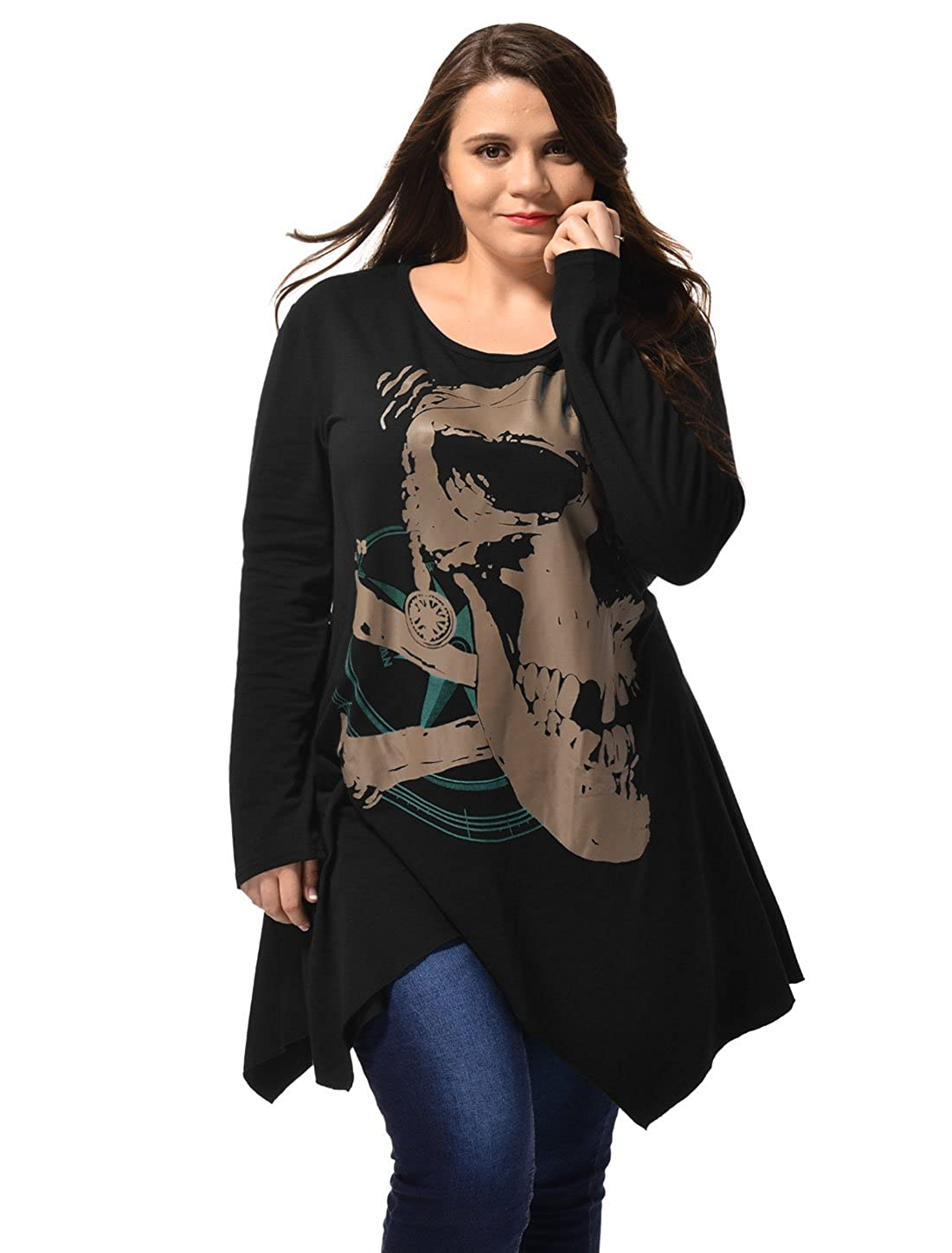 Allegra K Woman Plus Size Handkerchief Hem Skull Tunic Top a15072300ux0380