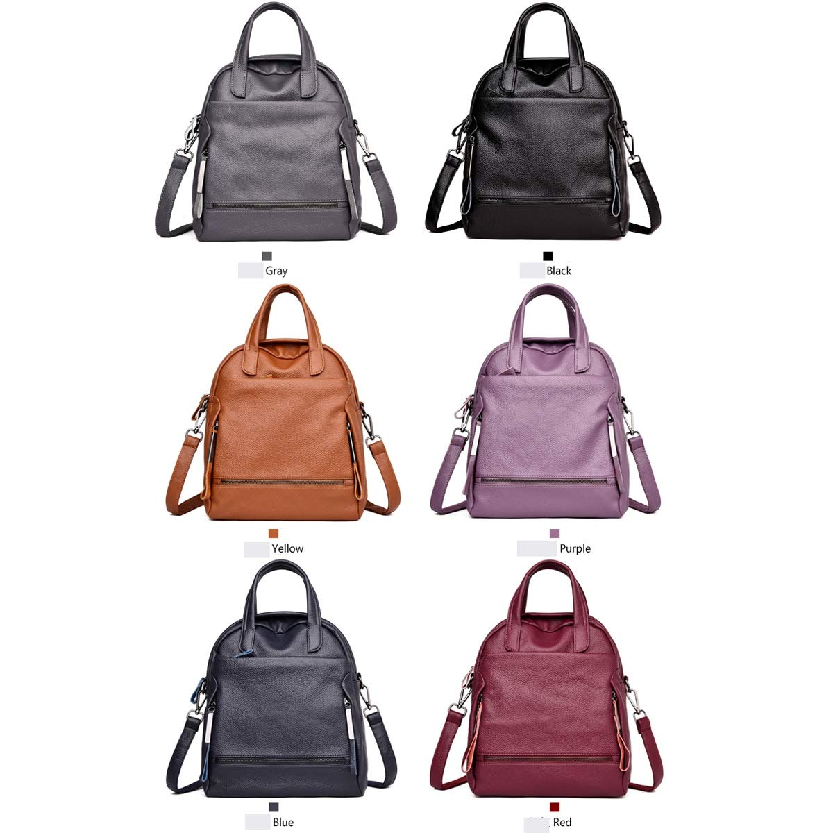 2019 New Simple and Stylish Hengtongtongxun Girls Multi-Purpose Backpack for Everyday Travel//Outdoor//Travel//School//Work//Fashion//Leisure PU Leather Six Colors