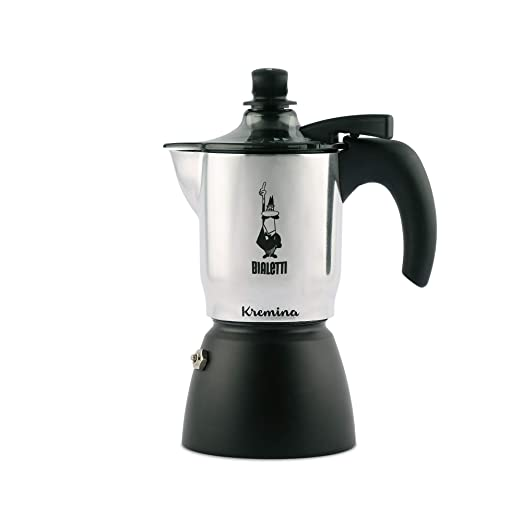 Bialetti - Kremina - Cafetera expreso, para 3 Tazas, Aluminio, Color Plateado y Negro, 30 x 20 x 15 cm
