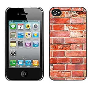 MOBMART Carcasa Funda Case Cover Armor Shell PARA Apple iPhone 4 / 4S - Broken Old Red Bricks