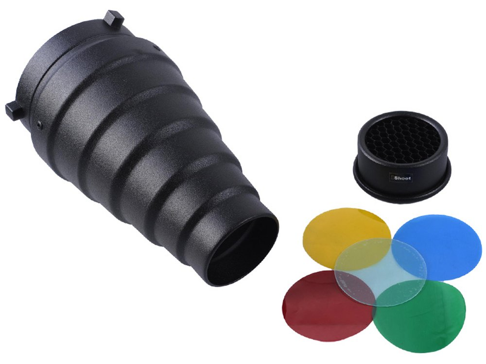 Bowens Mount Studio Strobe Flash Light Aluminum Snoot Diffuser with 65mm Honeycomb Grid and 5 Color Filters iShoot International SGT-BR