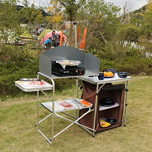 Campland Aluminum Height Adjustable Folding Table Camping