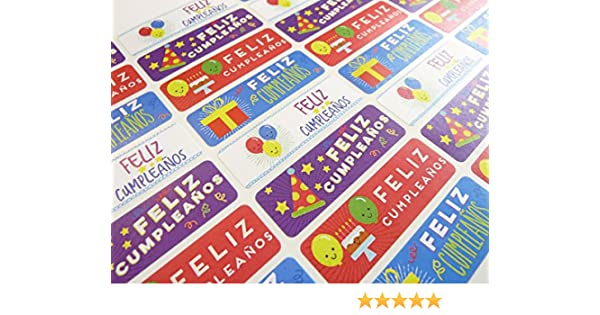 Pack of 32 Feliz Cumpleanos Spanish Birthday Greeting Stickers, Colorful Self-Stick Labels for Cards, Envelopes, Craft, Decoration