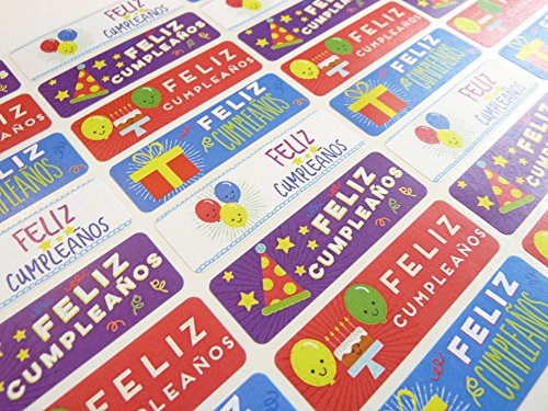 - Pack of 32 Feliz Cumpleanos Spanish Birthday Greeting Stickers, Colorful Self-Stick Labels for Cards, Envelopes, Craft, Decoration