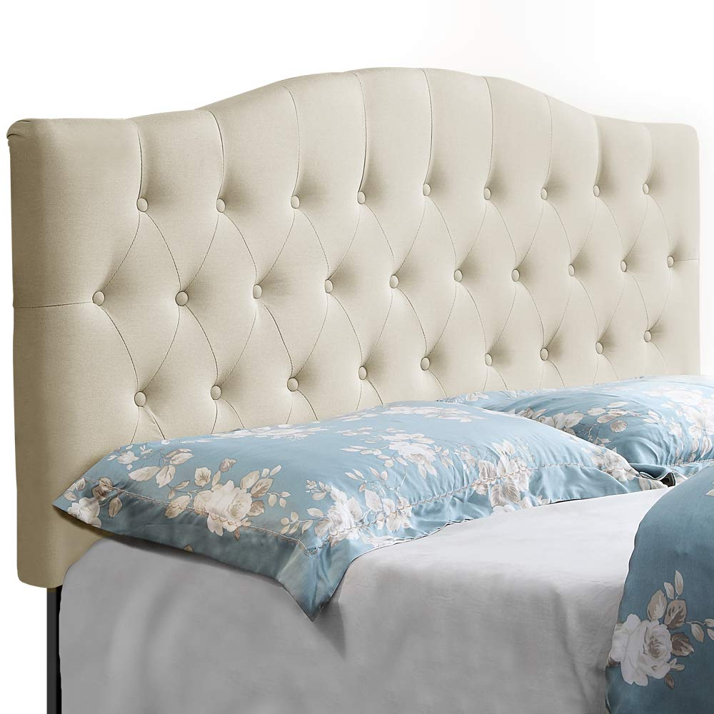 HOME BI Upholstered Tufted Button Curved Shape Linen Fabric Headboard Full/Queen Size, Beige