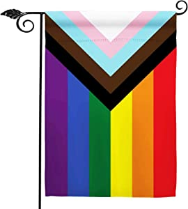 Progress Pride Inclusive Rainbow Garden Flag- Small Support LGBT LGBTQ All Inclusive Lesbian Rainbow Double Sided Garden Yard Flags 12.5x18 Inch
