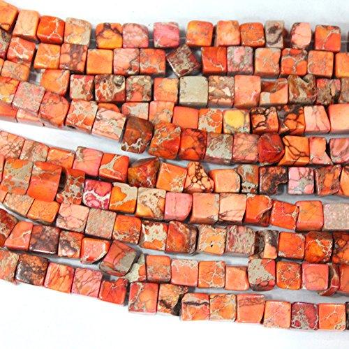 Natural Sea Sediment Jasper Cube 6mm Findings Jewerlry Making Gemstone Loose Beads (orange) ()