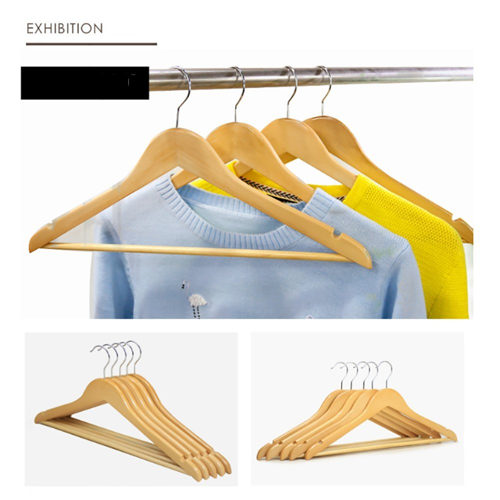 SWEET&HONEY Premium 10 Pack Solid Wood Cloth Hanger Standard Hangers Suit Hangers,360 Degree Swivel Chrome Hook,Non-Slip Finish Super Sturdy and Durable-A 45x23cm(18x9inch) by SWEET&HONEY (Image #1)