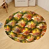Gzhihine Custom round floor mat Ripe Pineapple Fruit Texture. for Food and Beverage Healthcare Abstract and Diet and Nutrition Concepts.