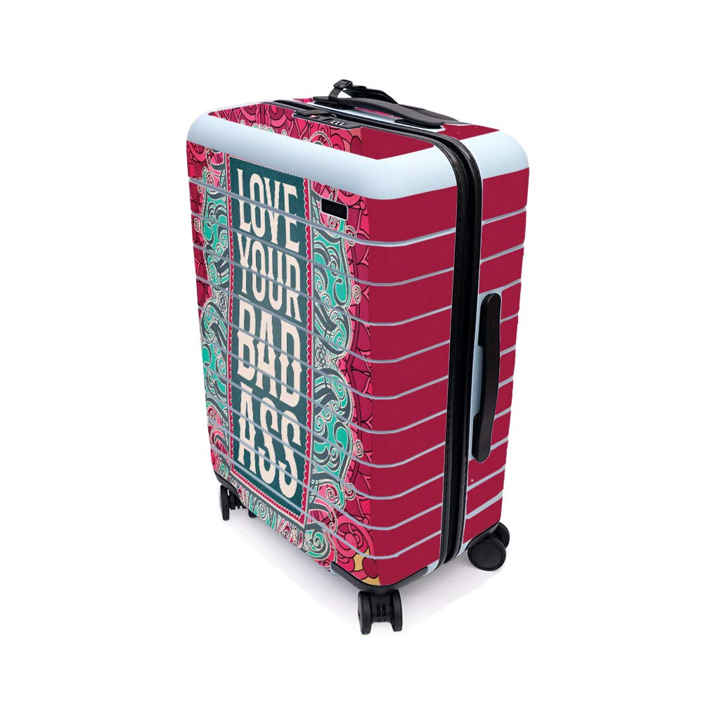 MightySkins Skin for Away The Bigger Carry-On Suitcase - Badass Love   Protective, Durable, and Unique Vinyl Decal wrap Cover   Easy to Apply, Remove, and Change Styles   Made in The USA