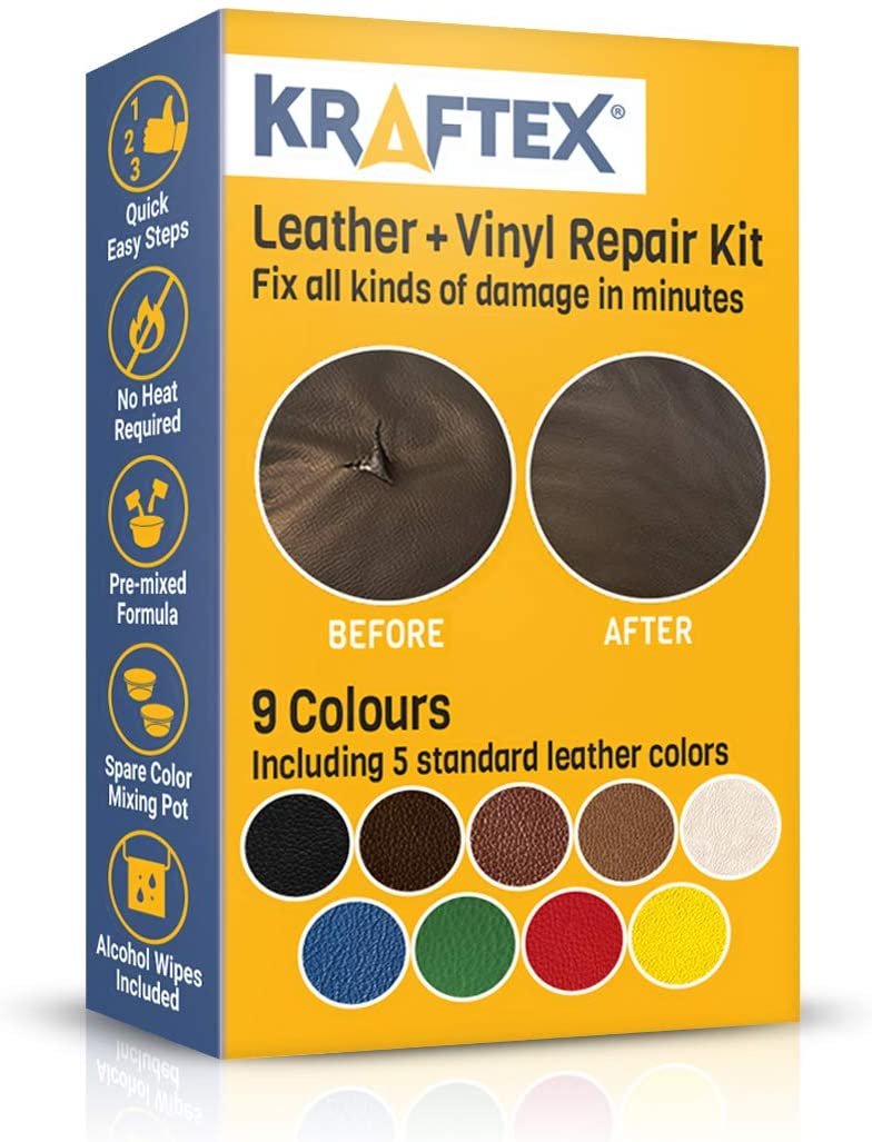 Kraftex - Leather and Vinyl Repair Kit. Repairs and Touch Ups [Restore Scratches, Stains and Cracks] to Any Colored Couches