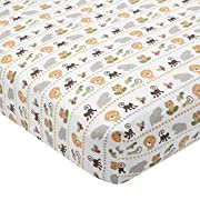 Lambs & Ivy Treetop Buddies Jungle Animal Fitted Crib Sheet, Brown/Green