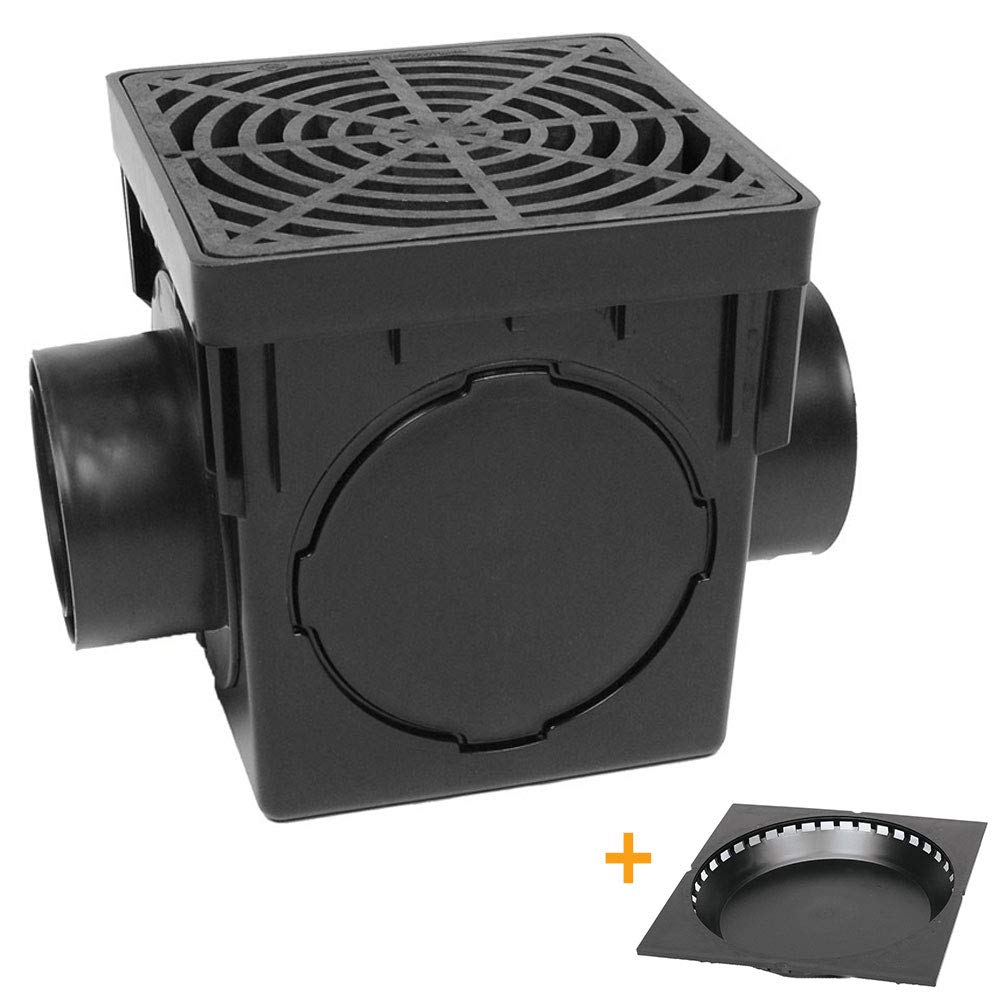 Storm Drain FSD-094-K 9-Inch Square Catch Basin Kit with Grate