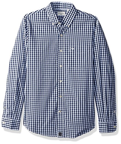 Dockers Men's Comfort Stretch Soft No Wrinkle Long Sleeve Button Front Shirt, Medieval Blue Gingham, Small (Front Gingham Shirt)