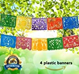 Mexican Decoration Papel Picado Plastic Banner Colorful Tissue Paper Coco Movie –Fiesta Party Birthday Family Celebrations- 64 Feet Includes 4 Large Banners (16 Feet Long 10 Panels each)- Handmade