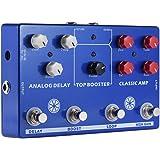 ammoon マルチエフェクト 4-in-1 ギタートーン エフェクトペダルプロセッサー クラシック AMP ブースター アナログ遅延 FXループEQ