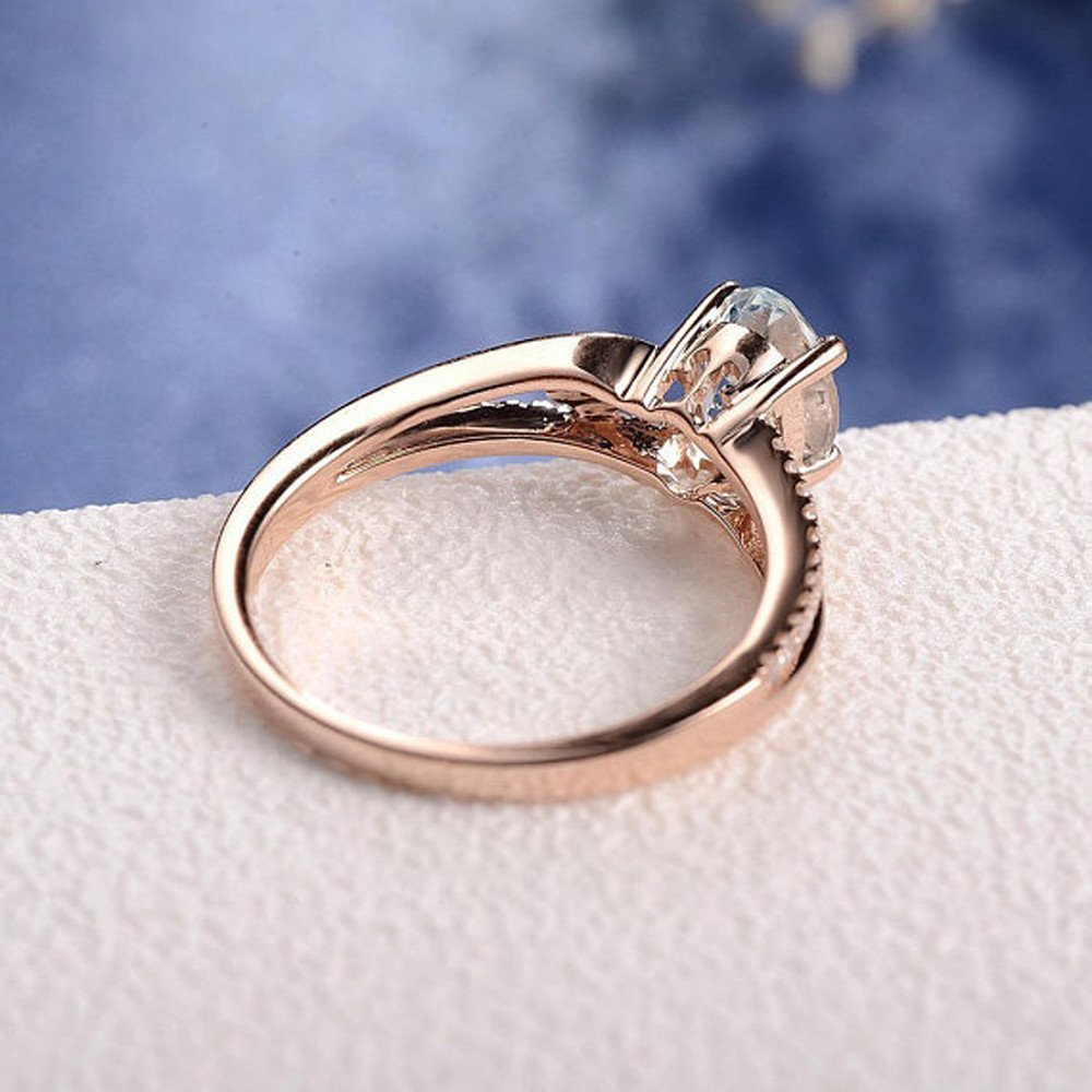 Keepfit Women's Exquisite Oval Ring Diamond Jewelry Bride Engagement Wedding Rings(Rose Gold,6) by Keepfit_Rings (Image #5)