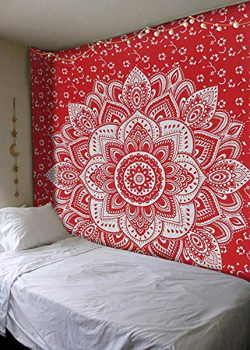Madhu International Red Silver Passion Ombre Mandala Tapestry, Boho Mandala Tapestry, Wall Hanging, Gypsy Tapestry, 84 X 90 inches
