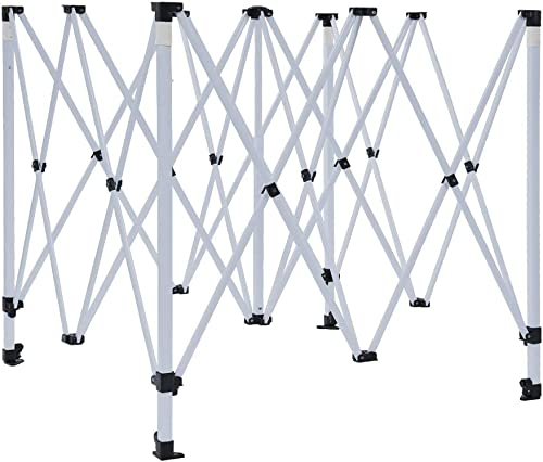 Vispronet 10×10 Canopy Tent Frame Adjustable Steel Frame with 3 Height Levels Max Height of 7.2ft Pinch-Free Buttons to Adjust Frame with Square Legs Frame Only