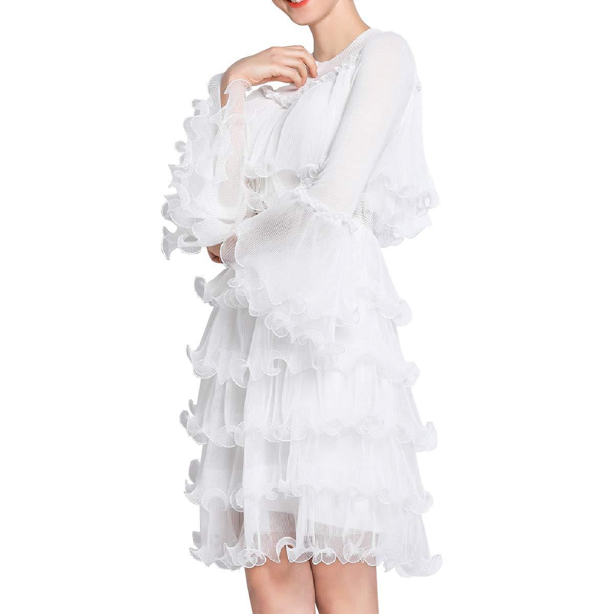DISSA YDL4009 Damen Mode 2019 Italienischer Designer Kleider Perspektive Midi Kleider Langarm Kleider