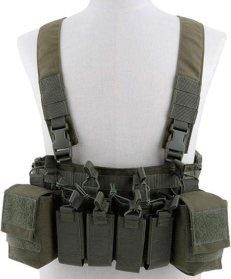 XUE Gilet Tattico Chest Rig Molle Multicam Mimetica per Uomo Militare Softair Esercito Caccia Combat Lavoro Polizia Paintball con 5,56 9mm Porta Caricatore