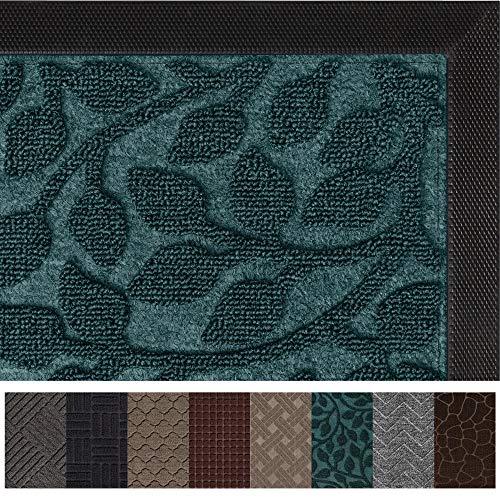 Gorilla Grip Original Durable Rubber Door Mat, 72x24, Heavy Duty Runner Doormat for Indoor Outdoor, Waterproof, Easy Clean, Low-Profile Rug Mats for Winter Snow, High Traffic Areas, Green Vine Leaves