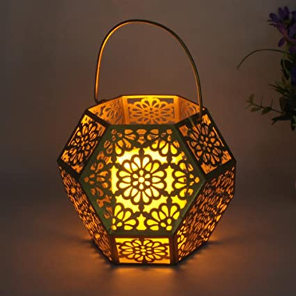 solar lantern lights outdoor candle whitelotous led solar lantern lights outdoor hollow gold waterproof garden hanging decoration and indoor amazoncom