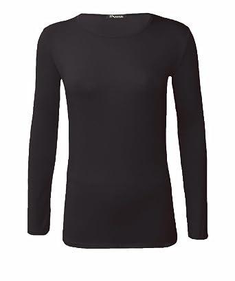 fecfd17e2bc3b3 New Ladies Women Long Sleeve T-shirt Stretch Plain Top UK Plus Size 8-26   Amazon.co.uk  Clothing