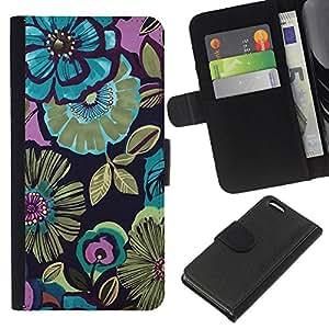 Patrón Oro Verde Primavera Flores- la tarjeta de Crédito Slots PU Funda de cuero Monedero caso cubierta de piel Para Apple iPhone 5C