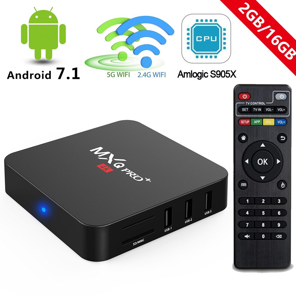 Android 7.1 TV Box, 2018 MXQ Pro+ 2GB RAM 16GB ROM Amlogic S905X 2.4G/5G Dual Band WiFi BT Lan Google Media Player RBSCH