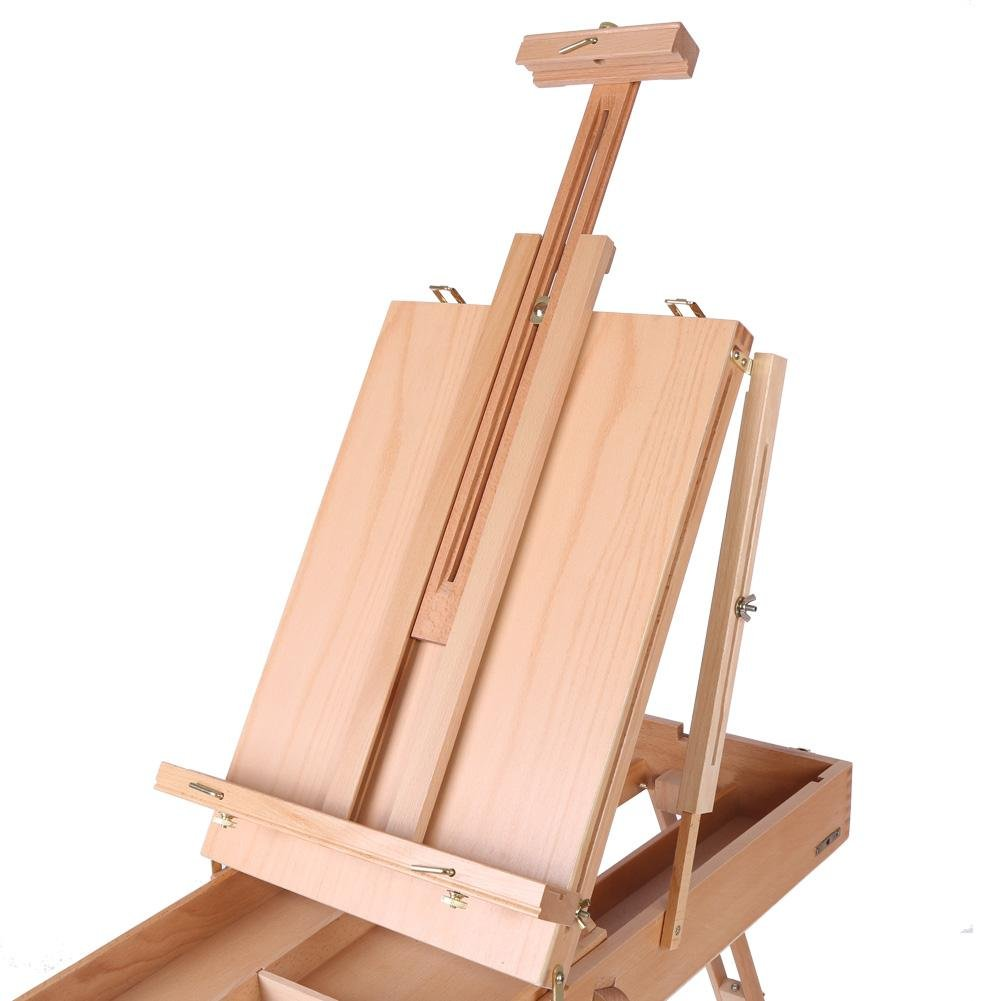 French Art Easel, 1pc Wooden Table Painting Easel Case Sketch Box Portable Folding Artist Painters Tripod with Shoulder Strap for Field Painting and Drawing(Large)(大号) by Zerone (Image #8)