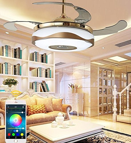 MOERUN 42 inch Ceiling Fan Lights with Remote Control and Mobile Phone Bluetooth Remote Control Fan Light LED Chandelier Lighting fit for Restaurant Living Room Home Bedroom