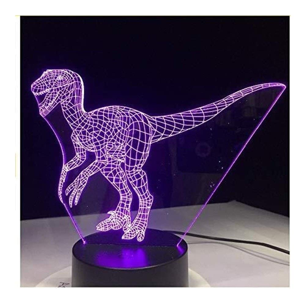 JINXUXIONGDI Visual Stereo Vision 3D Night Lights Children's Hobby Dinosaurs LED Lights USB 3D Lights 7 Colors Touch Bedroom Lights Atmosphere Decorative Lights Novelty Gifts Children's Decoration