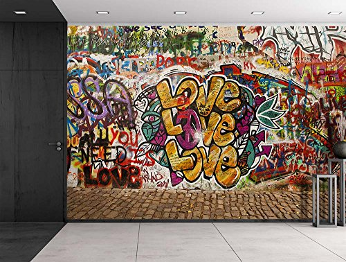 wall26 Colorful Graffiti - Large Wall Mural, Removable Peel and Stick Wallpaper, Home Decor - 66x96 inches (Peel And Stick Wall Murals)
