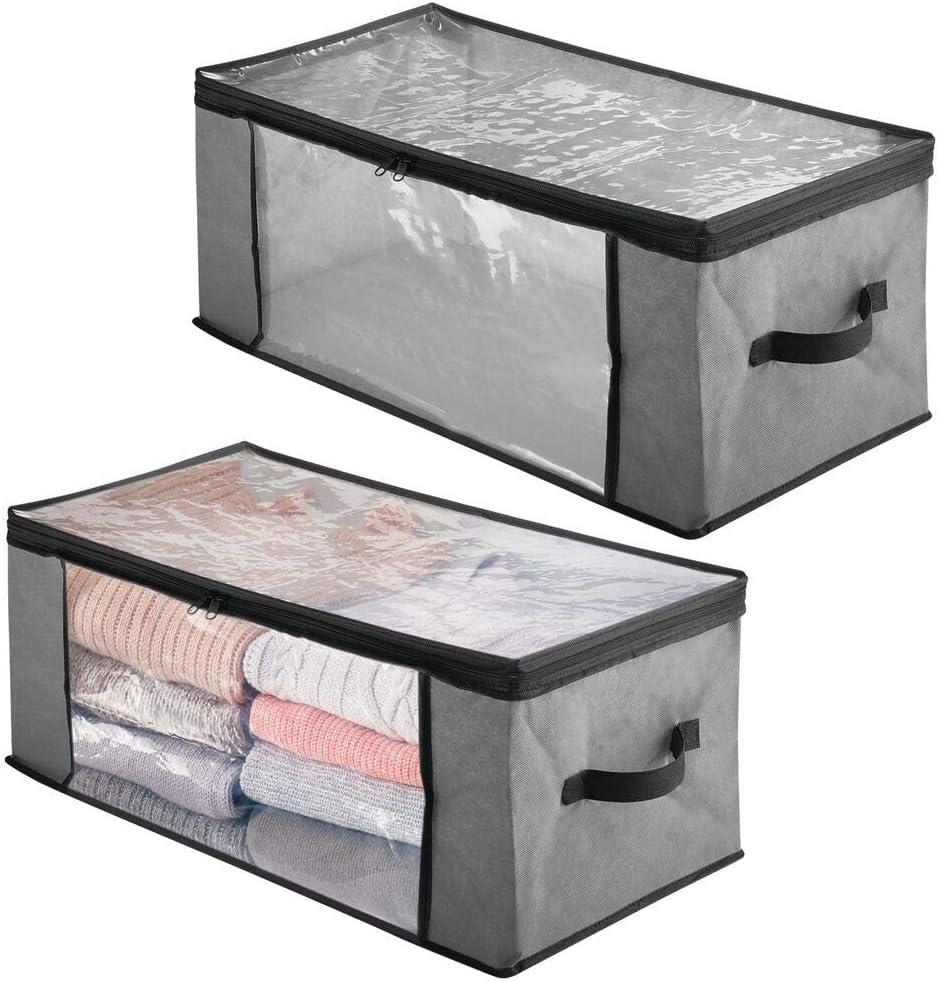 mDesign Juego de 2 cajas organizadoras de tela – Prácticas cajas para guardar ropa y ropa de cama – Sistema de almacenaje con cremallera y ventana de visualización – gris/negro