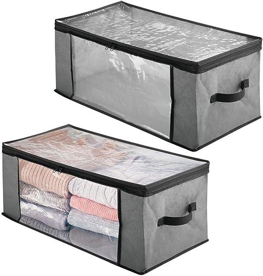 mDesign Juego de 2 cajas organizadoras de tela – Prácticas cajas para guardar ropa y ropa de cama – Sistema de almacenaje con cremallera y ventana de visualización – gris/negro: Amazon.es: Hogar