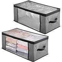 mDesign Juego de 2 cajas organizadoras de tela