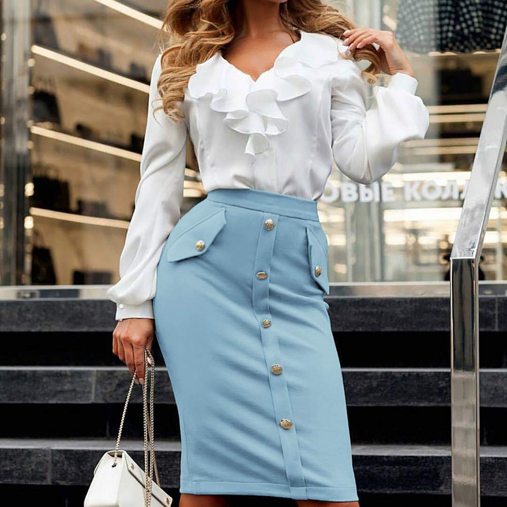 kingfansion Skirts with Pockets Women High Waisted Pencil Skirt Bodycon Button Skirts for Women Knee Length Blue by kingfansion dress (Image #3)