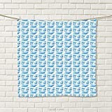 smallbeefly Whale Hand Towel Funny Sea Animal in Different Positions with Water Splashes Childish Mammal Quick-Dry Towels Aqua Pale Blue White Size: W 20'' x L 32''