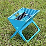 MEI XU Barbecue Grill BBQ Grill - Outdoor BBQ Home Charcoal BBQ Stand Portable Barbecue Furnace Field Grill Folding More Than 5 People (Color : Blue, Size : S)