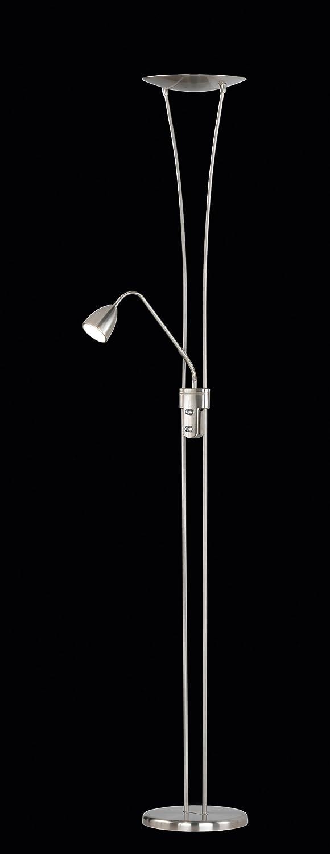 Trio Arizona - Lámpara de pie con LED SMD superior de 20W y 1 LED SMD en brazo lector de 5W, ambos incluidos. Interruptores separados y regulador de luz integrado. Color níquel mate Níquel Mate