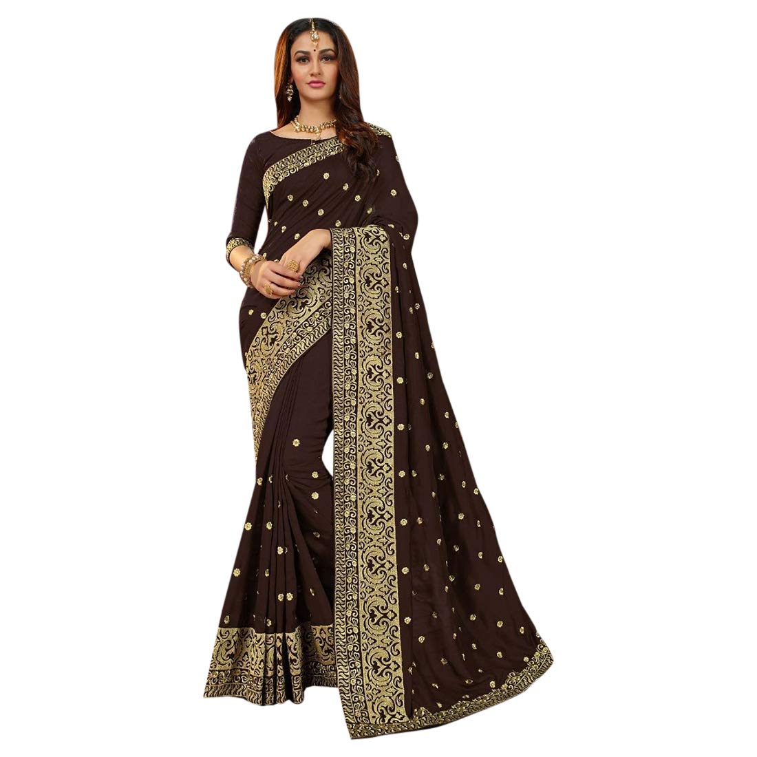 Designer Collection Silk Saree With Blouse Indian Ethnic Party Wear Sari 7355