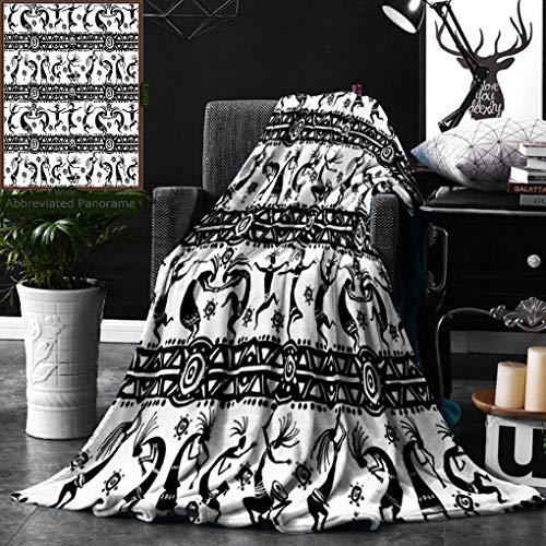 (Unique Custom Digital Print Flannel Blankets Kokopelli Decor Collection Silhouette Of Dancing Figures Geometric Shapes In Horiz Super Soft Blanketry for Bed Couch, Throw Blanket 50 x 60 Inches )