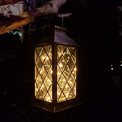 Solar Outdoor Lantern, Waterproof Hanging Solar Lantern with 30 LED Fairy Copper String Lights for Patio, Garden, Lawn, Pathway (Yellow)