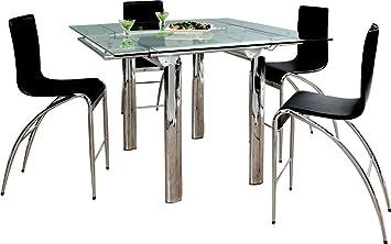 Table haute H95 extensible plateau verre pieds métal chromé ...