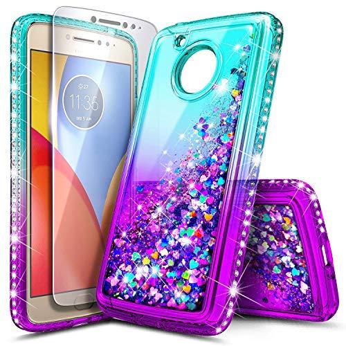 Moto E4 Plus Case with Tempered Glass Screen Protector for Girls Women Kids, NageBee Glitter Liquid Bling Floating Waterfall Cute Case for Motorola Moto E Plus 4th Gen (USA Version) -Aqua/Purple